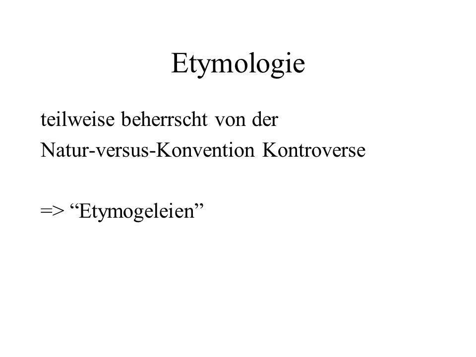 Etymologie teilweise beherrscht von der