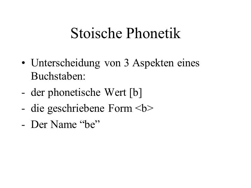 Stoische Phonetik Unterscheidung von 3 Aspekten eines Buchstaben: