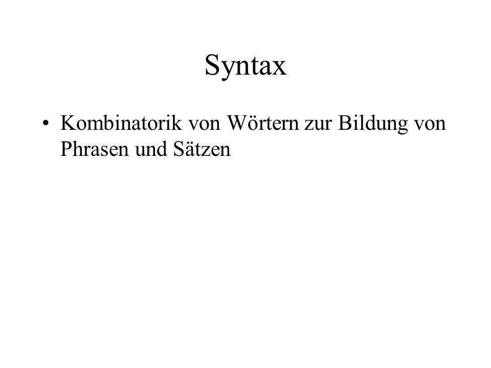 Syntax Kombinatorik von Wörtern zur Bildung von Phrasen und Sätzen