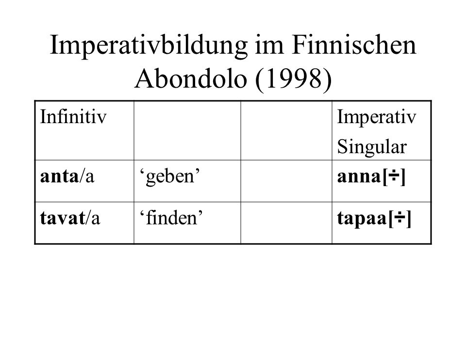 Imperativbildung im Finnischen Abondolo (1998)