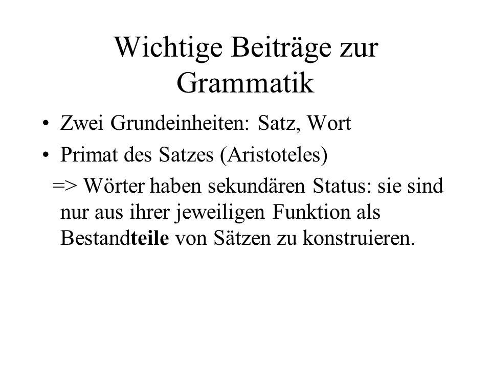 Wichtige Beiträge zur Grammatik