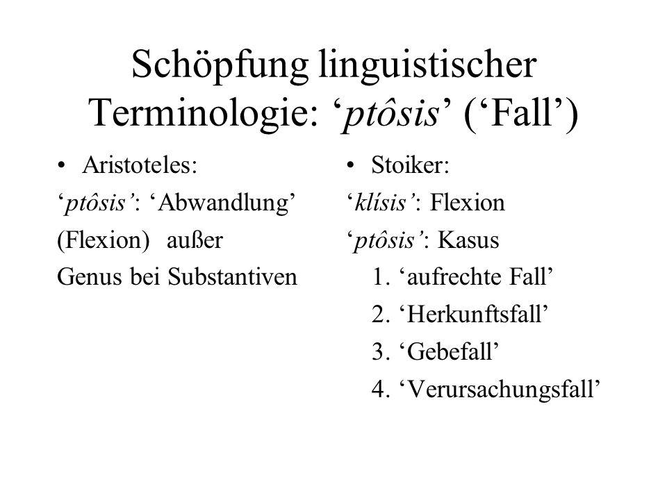 Schöpfung linguistischer Terminologie: 'ptôsis' ('Fall')