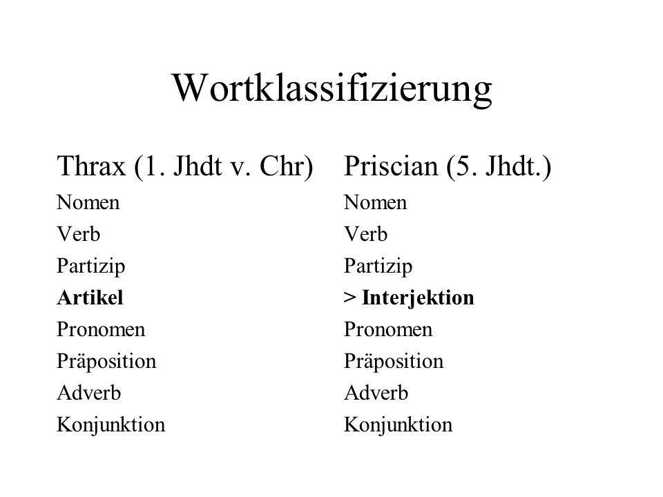 Wortklassifizierung Thrax (1. Jhdt v. Chr) Priscian (5. Jhdt.) Nomen