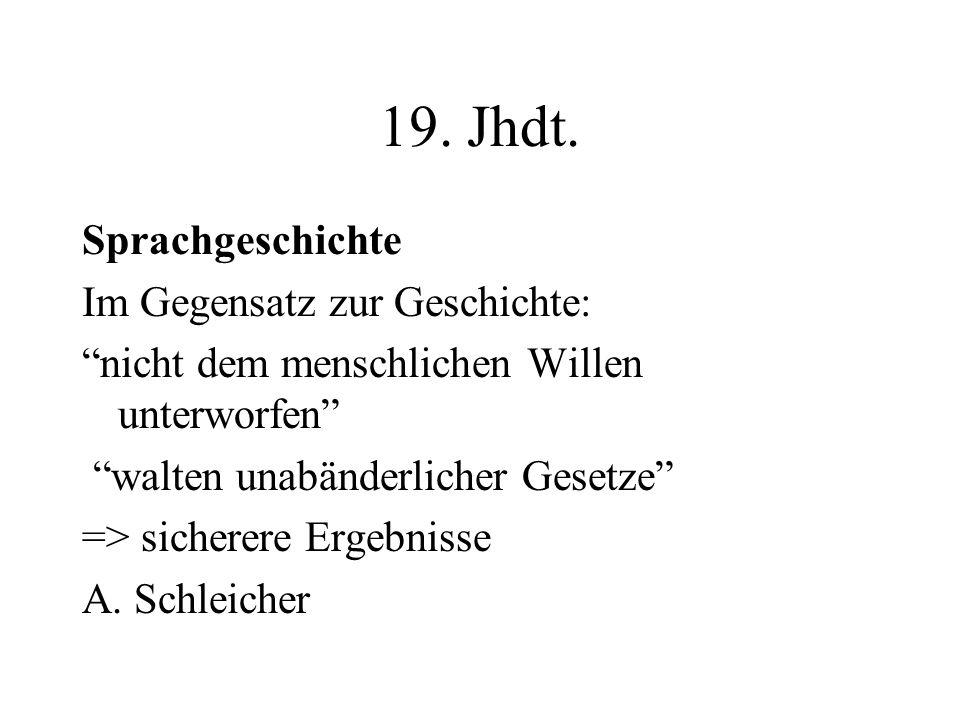 19. Jhdt. Sprachgeschichte Im Gegensatz zur Geschichte: