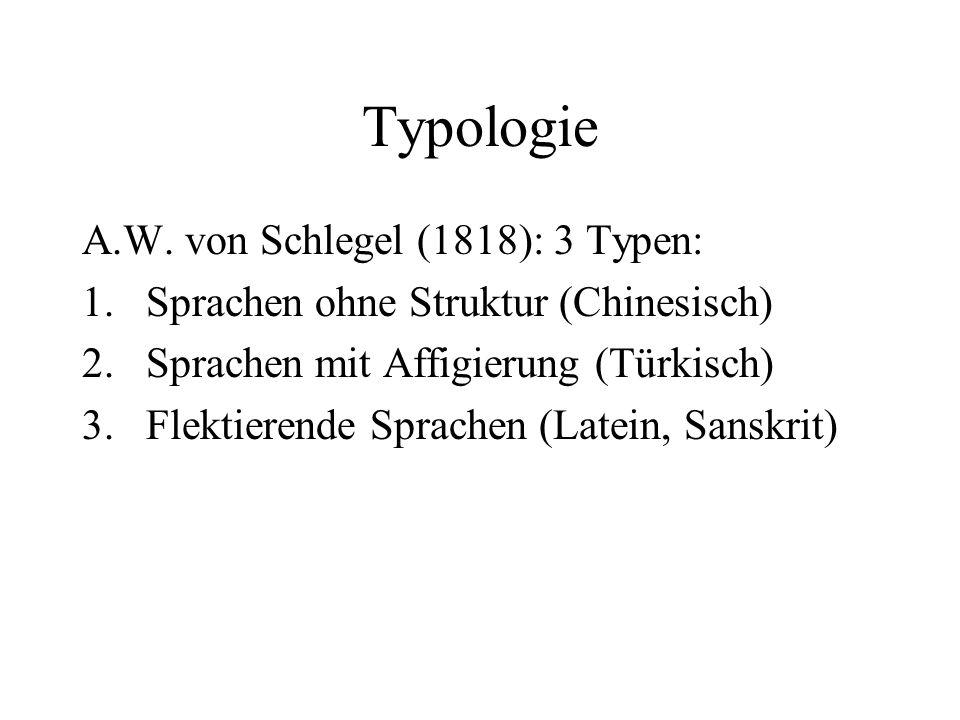 Typologie A.W. von Schlegel (1818): 3 Typen:
