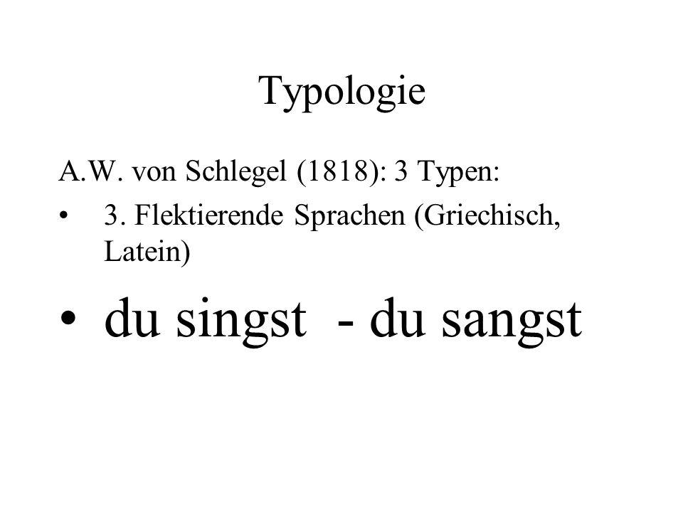 du singst - du sangst Typologie A.W. von Schlegel (1818): 3 Typen: