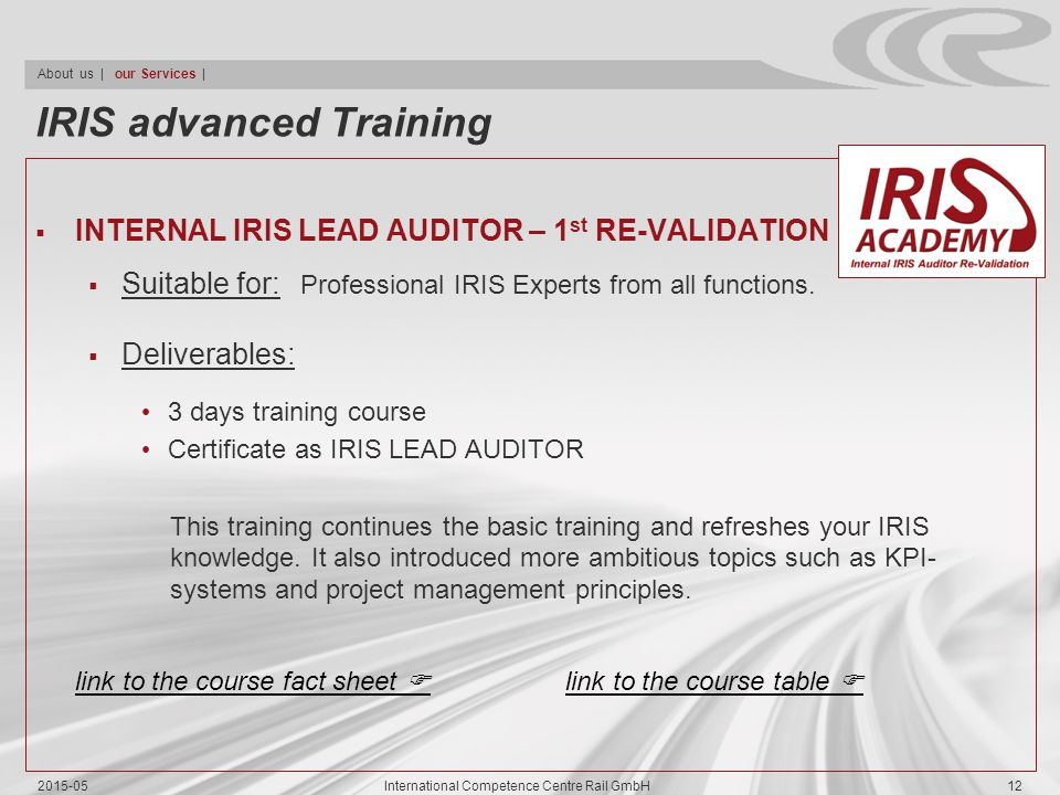 IRIS advanced Training