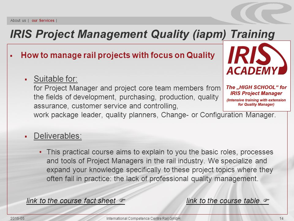 IRIS Project Management Quality (iapm) Training