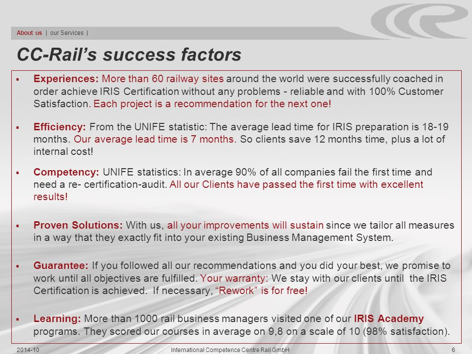 CC-Rail's success factors
