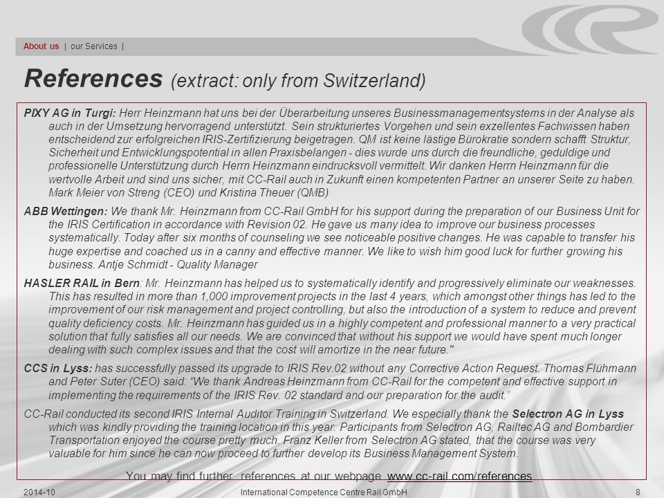 References (extract: only from Switzerland)