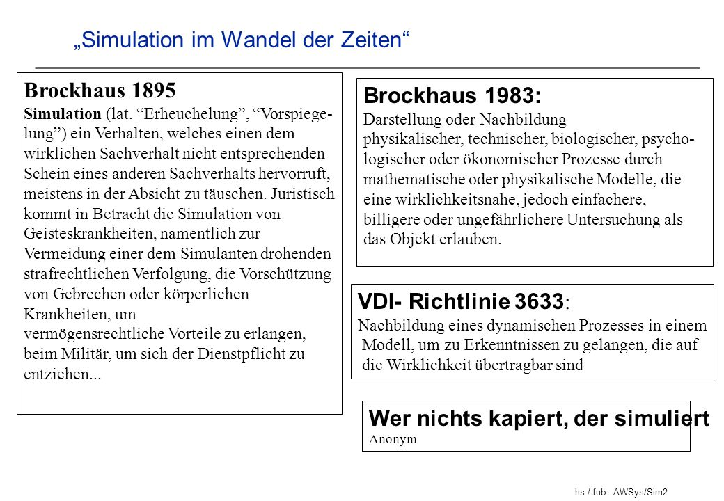 """""""Simulation im Wandel der Zeiten"""