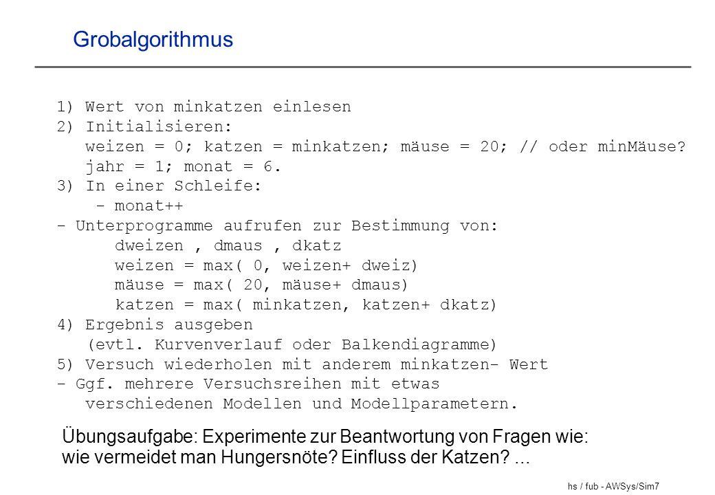 Grobalgorithmus 1) Wert von minkatzen einlesen. 2) Initialisieren: weizen = 0; katzen = minkatzen; mäuse = 20; // oder minMäuse