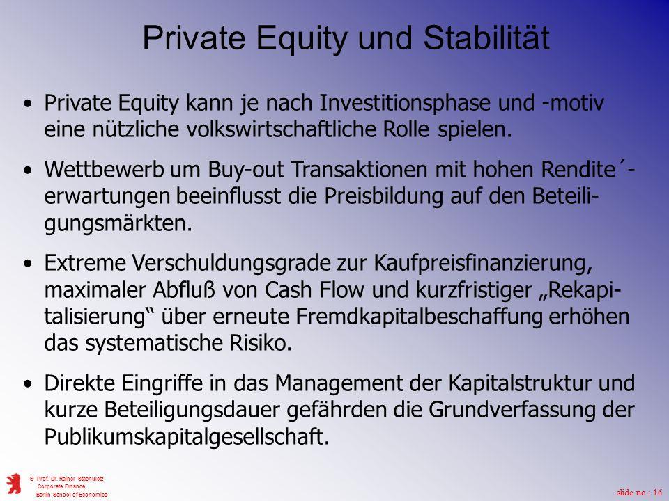 Private Equity und Stabilität