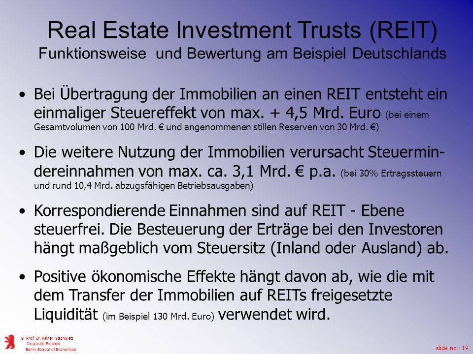 Real Estate Investment Trusts (REIT) Funktionsweise und Bewertung am Beispiel Deutschlands