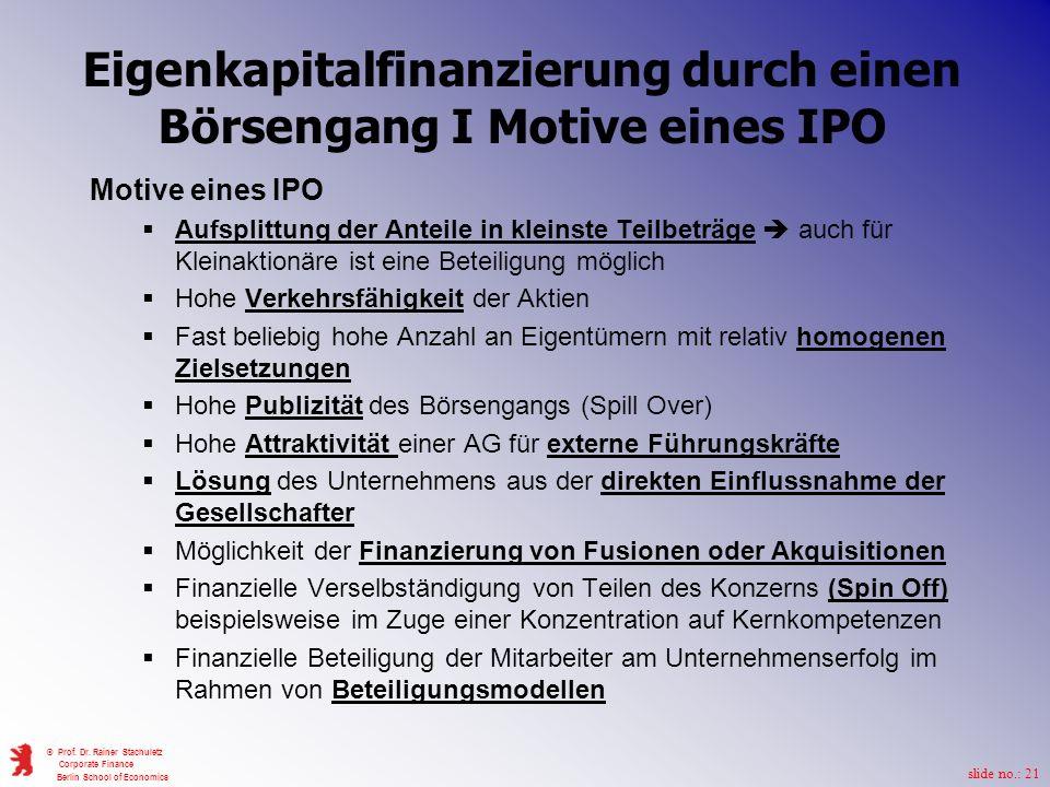 Eigenkapitalfinanzierung durch einen Börsengang I Motive eines IPO