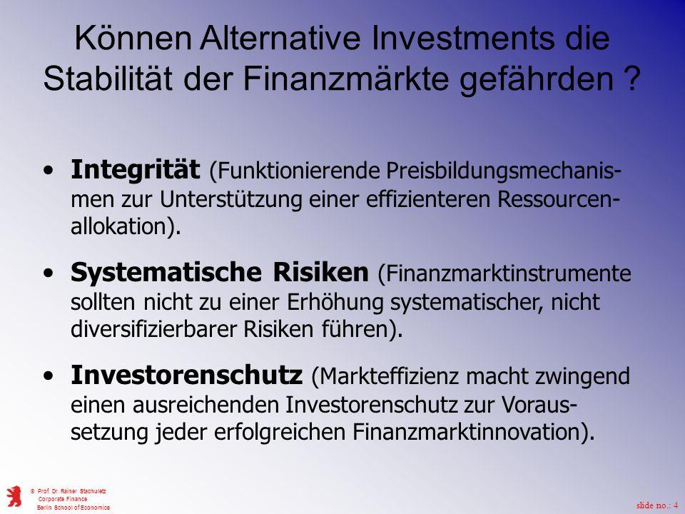 Können Alternative Investments die Stabilität der Finanzmärkte gefährden