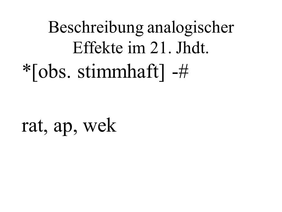 Beschreibung analogischer Effekte im 21. Jhdt.
