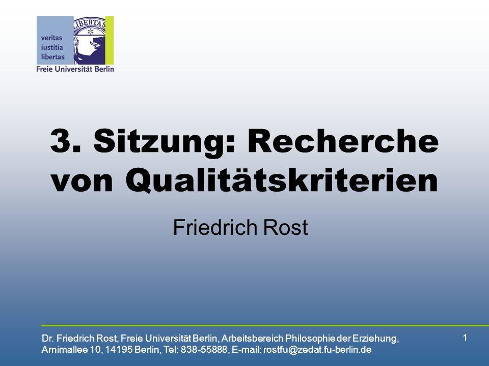 3. Sitzung: Recherche von Qualitätskriterien