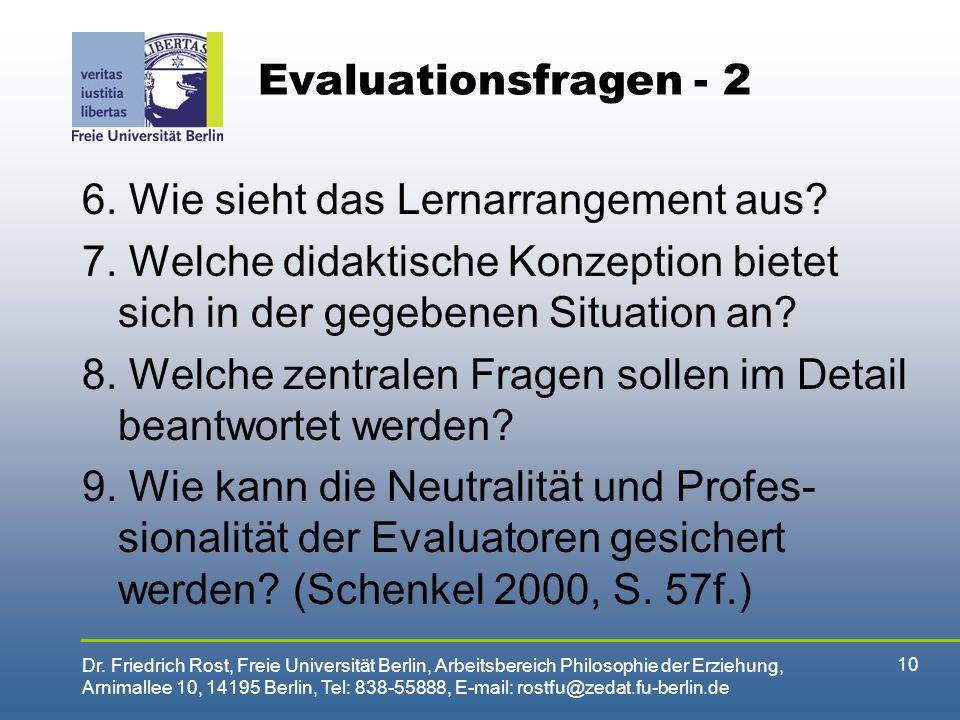 Evaluationsfragen - 2 6. Wie sieht das Lernarrangement aus 7. Welche didaktische Konzeption bietet sich in der gegebenen Situation an