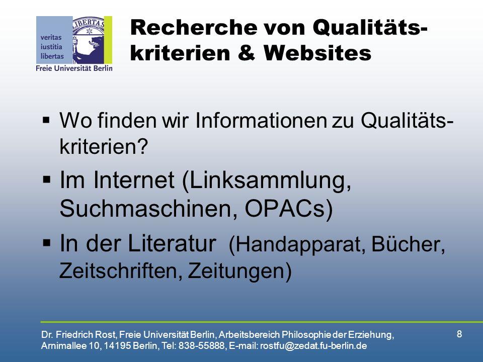 Recherche von Qualitäts-kriterien & Websites