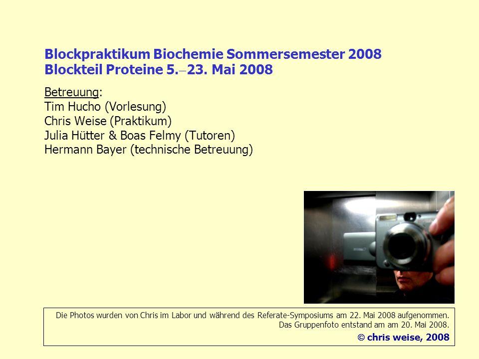 Blockpraktikum Biochemie Sommersemester 2008 Blockteil Proteine 5. 23