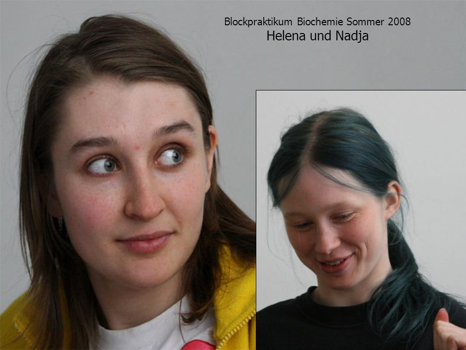 Blockpraktikum Biochemie Sommer 2008 Helena und Nadja