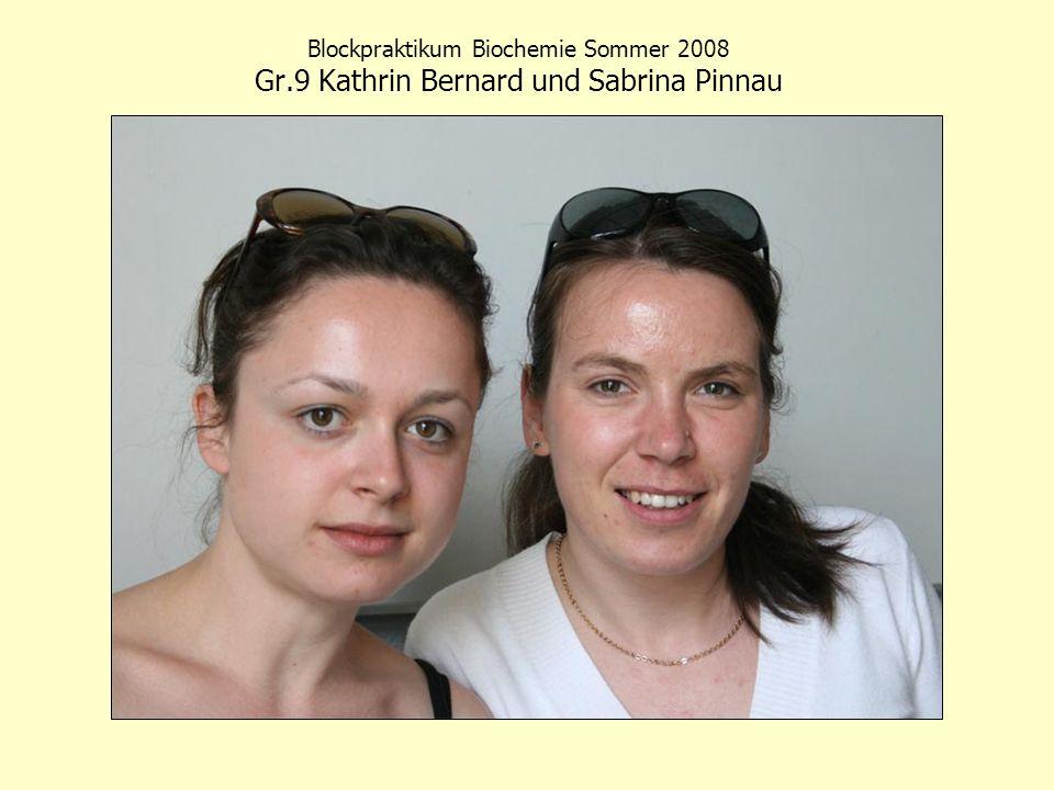 Blockpraktikum Biochemie Sommer 2008 Gr
