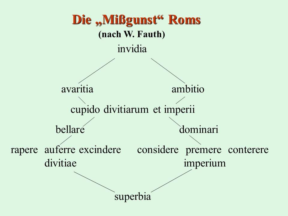 """Die """"Mißgunst Roms avaritia ambitio cupido divitiarum et imperii"""