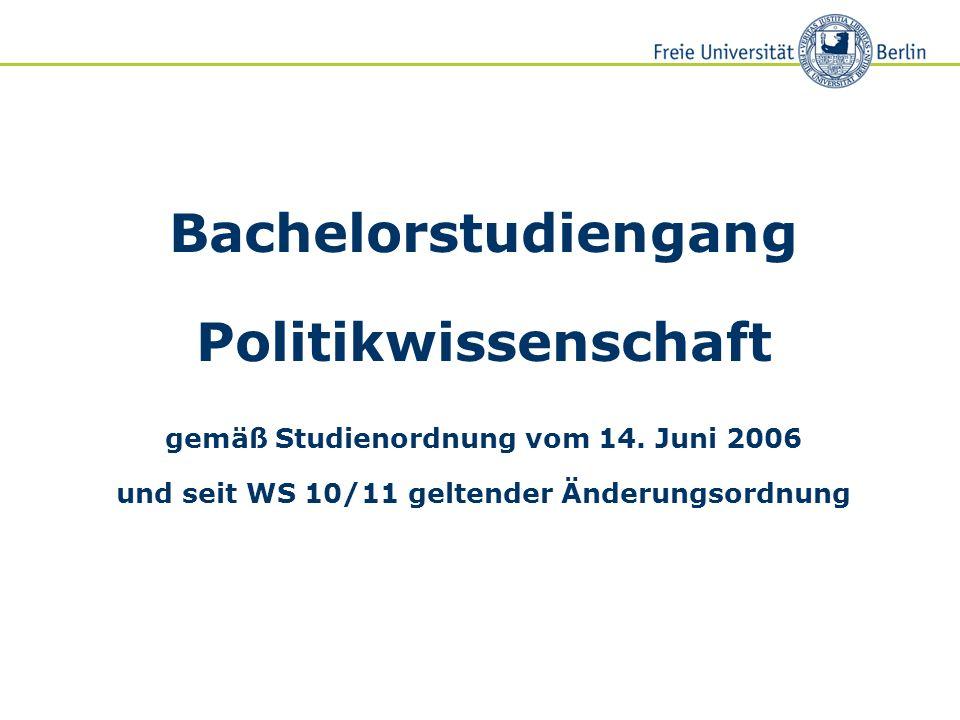 Bachelorstudiengang Politikwissenschaft gemäß Studienordnung vom 14