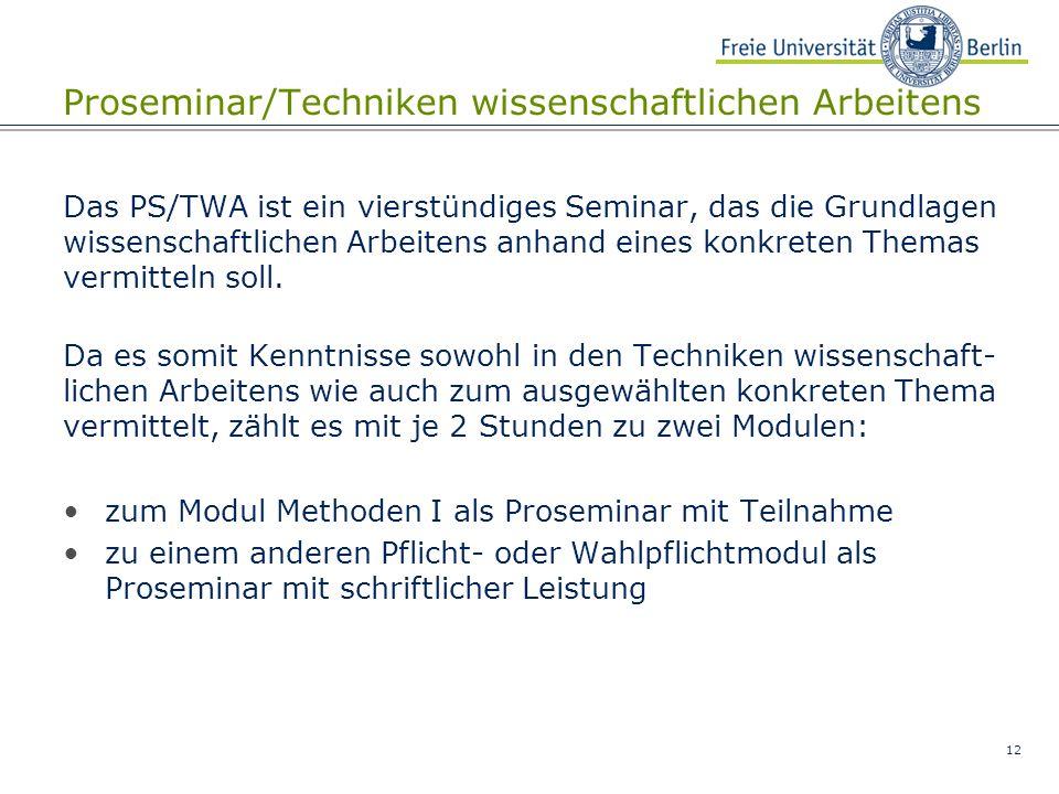 Proseminar/Techniken wissenschaftlichen Arbeitens
