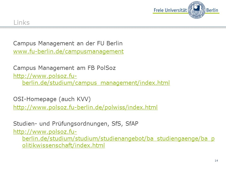 Links Campus Management an der FU Berlin