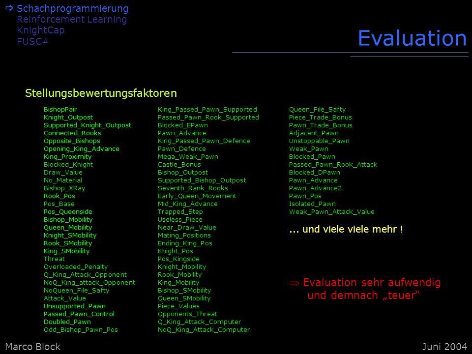 Evaluation Stellungsbewertungsfaktoren Evaluation sehr aufwendig