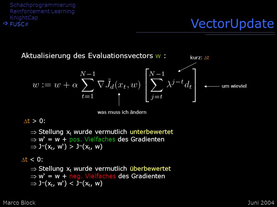 VectorUpdate Aktualisierung des Evaluationsvectors w : t > 0: