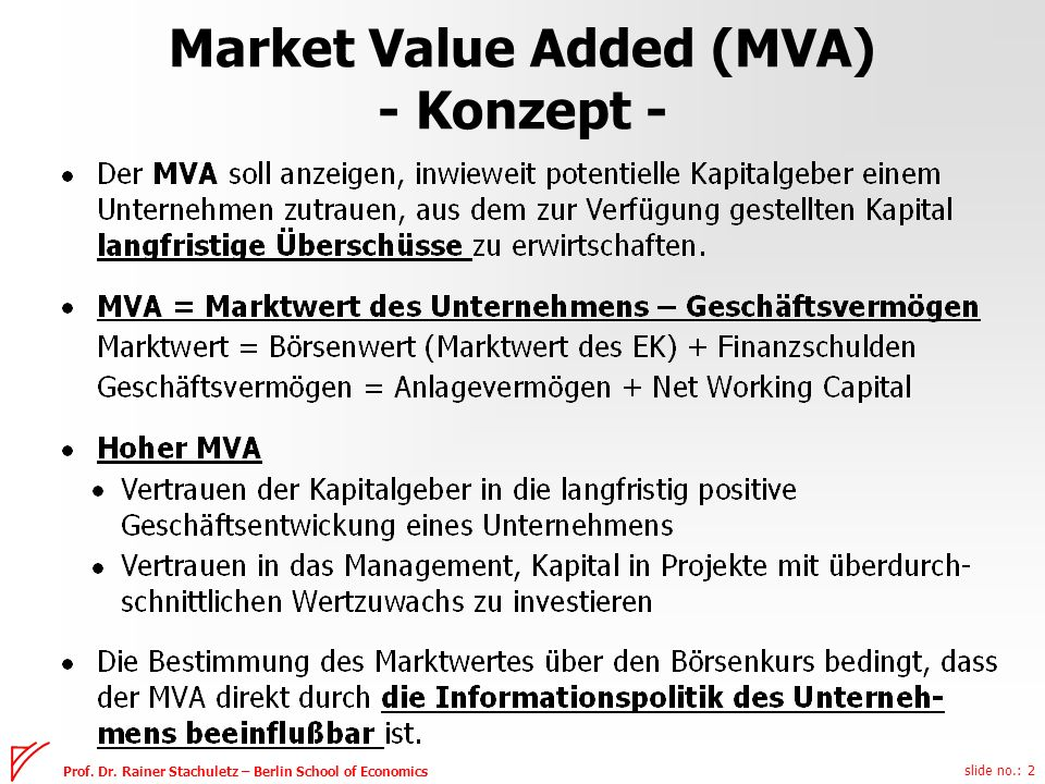 Market Value Added (MVA) - Konzept -