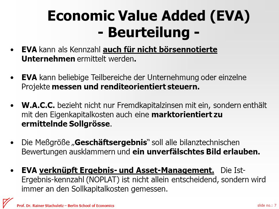 Economic Value Added (EVA) - Beurteilung -