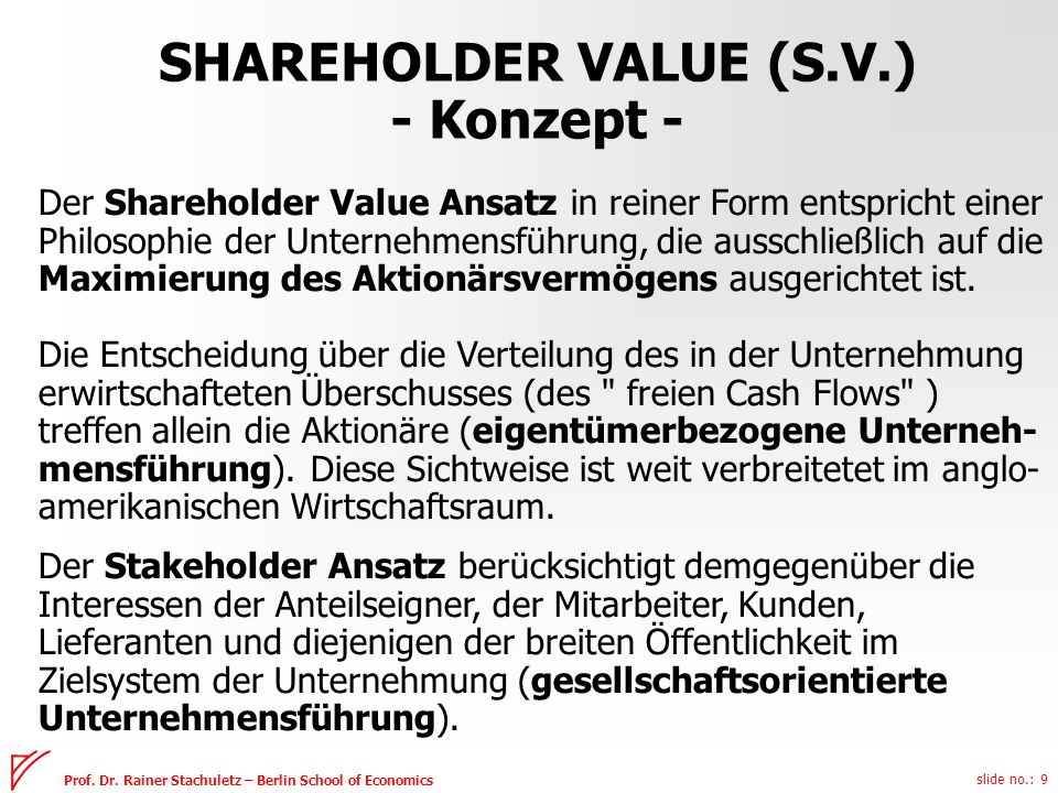 SHAREHOLDER VALUE (S.V.) - Konzept -