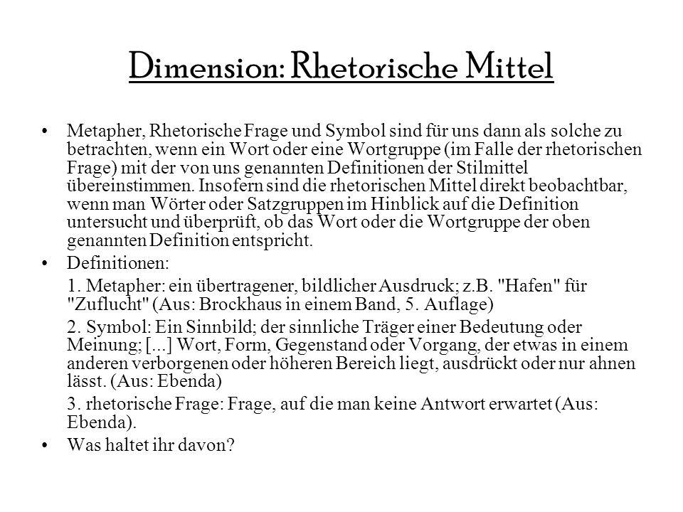 Dimension: Rhetorische Mittel