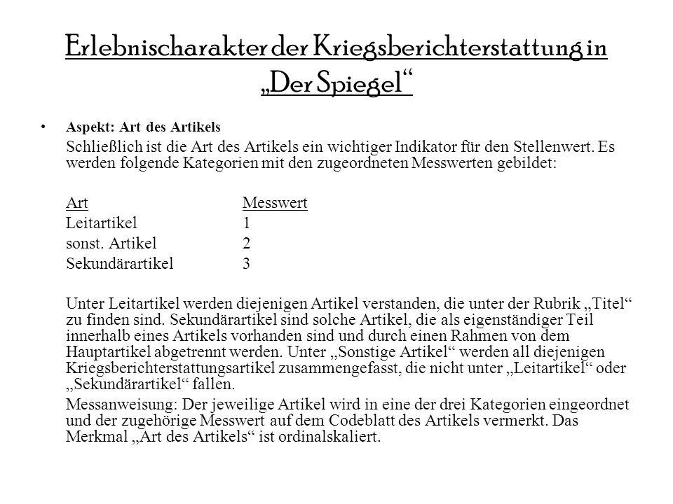 """Erlebnischarakter der Kriegsberichterstattung in """"Der Spiegel"""
