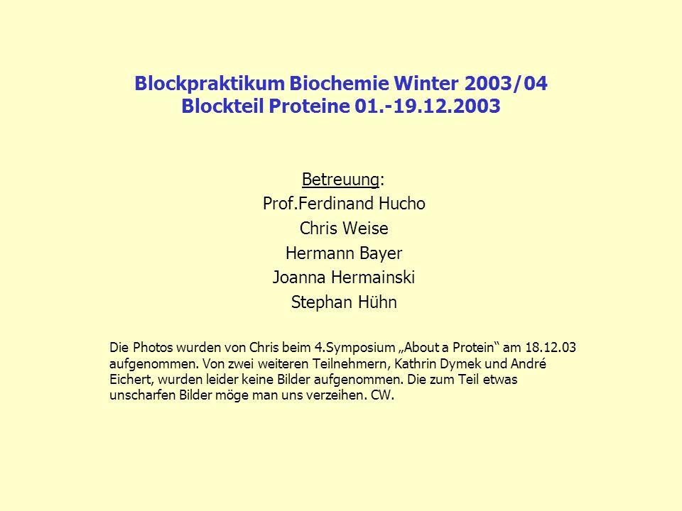 Blockpraktikum Biochemie Winter 2003/04 Blockteil Proteine 01. -19. 12