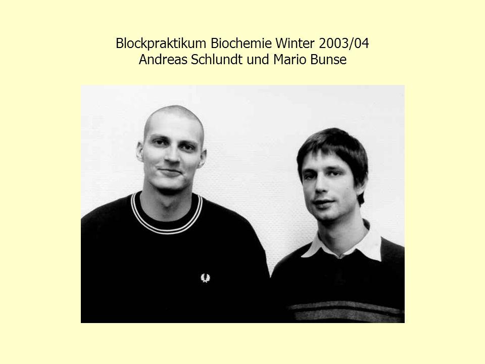 Blockpraktikum Biochemie Winter 2003/04 Andreas Schlundt und Mario Bunse