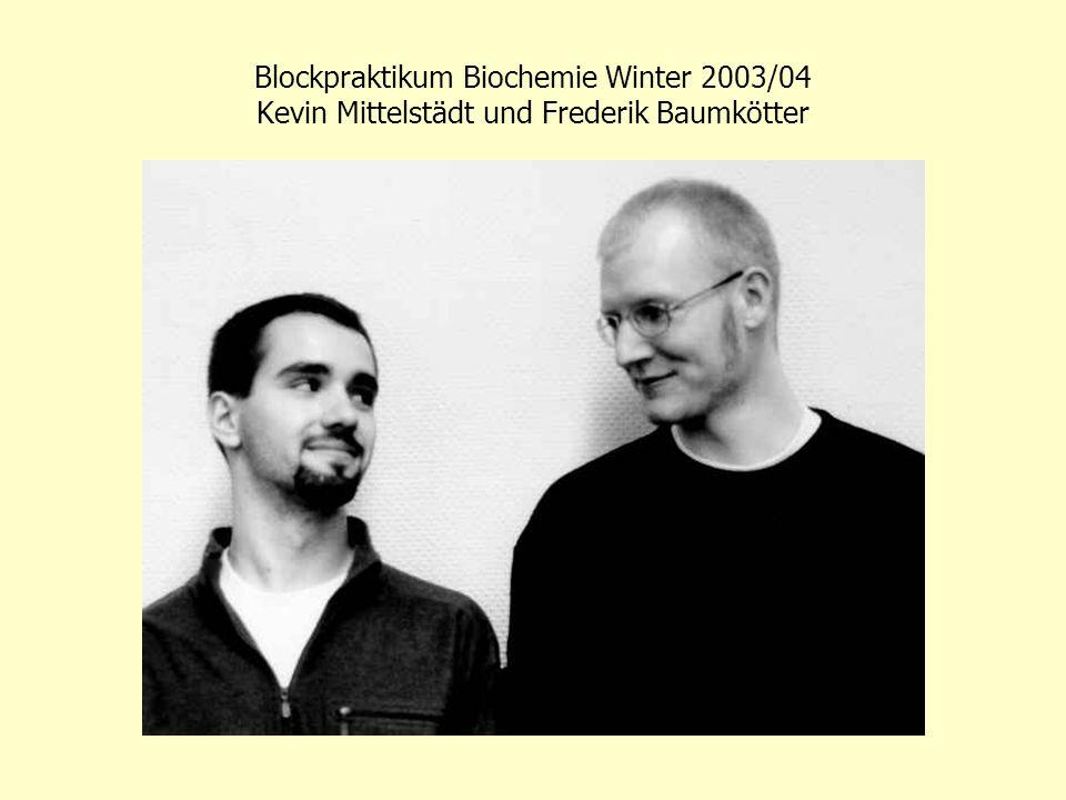 Blockpraktikum Biochemie Winter 2003/04 Kevin Mittelstädt und Frederik Baumkötter