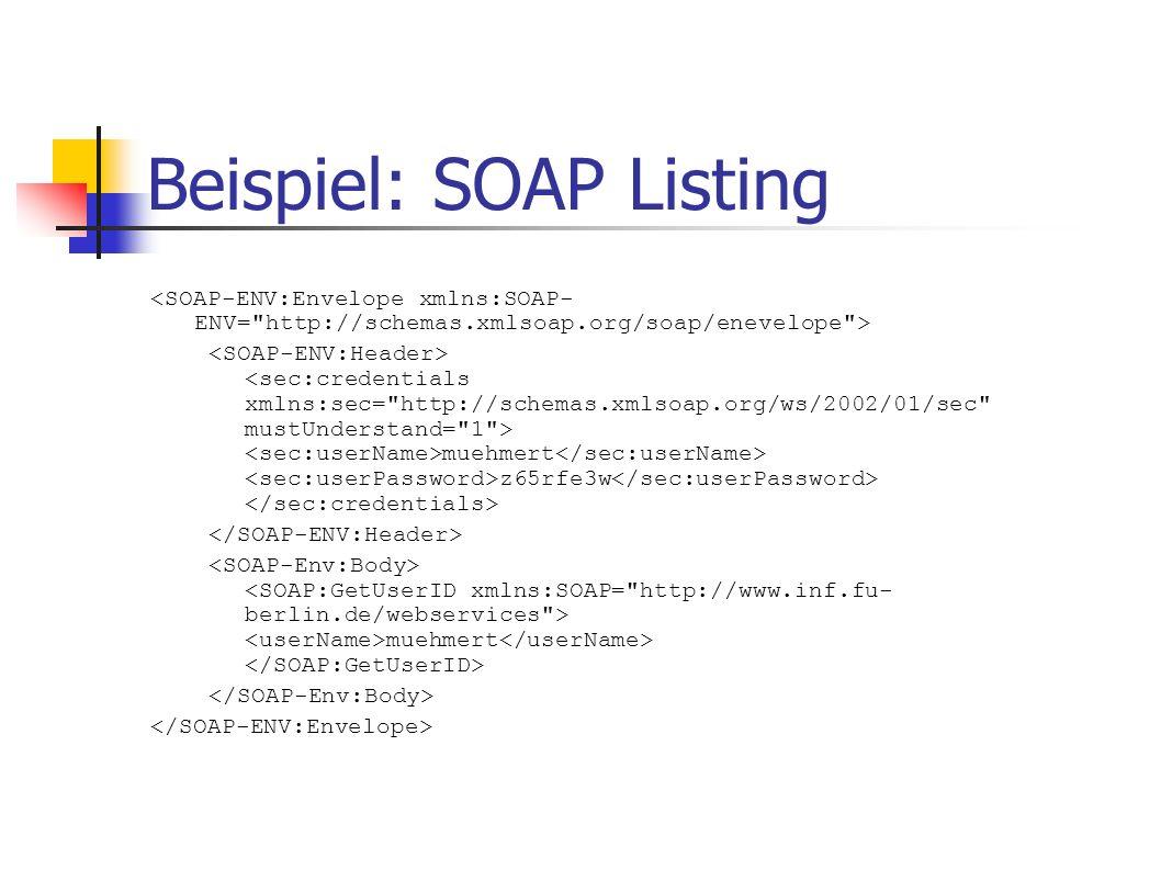 Beispiel: SOAP Listing