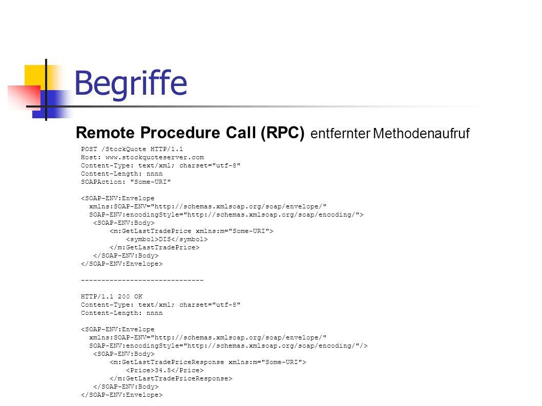 Begriffe Remote Procedure Call (RPC) entfernter Methodenaufruf