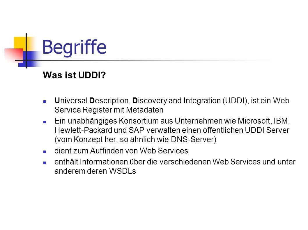 Begriffe Was ist UDDI Universal Description, Discovery and Integration (UDDI), ist ein Web Service Register mit Metadaten.