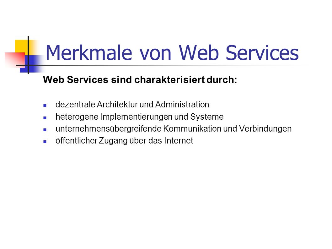 Merkmale von Web Services