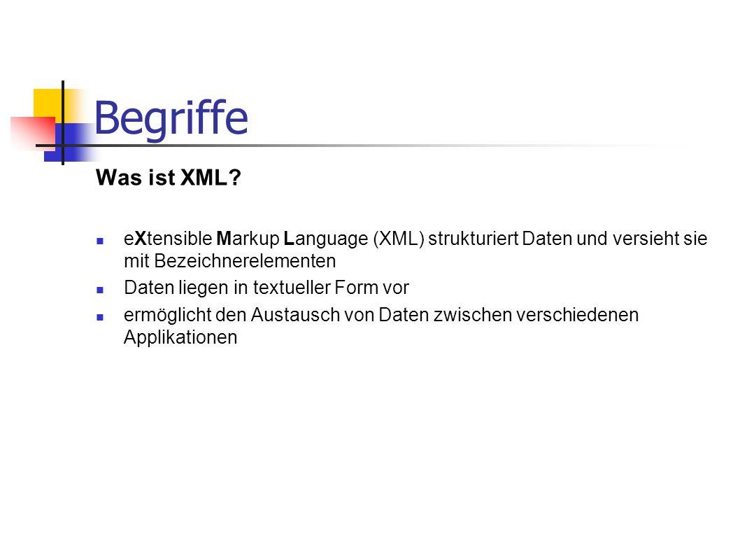 Begriffe Was ist XML eXtensible Markup Language (XML) strukturiert Daten und versieht sie mit Bezeichnerelementen.
