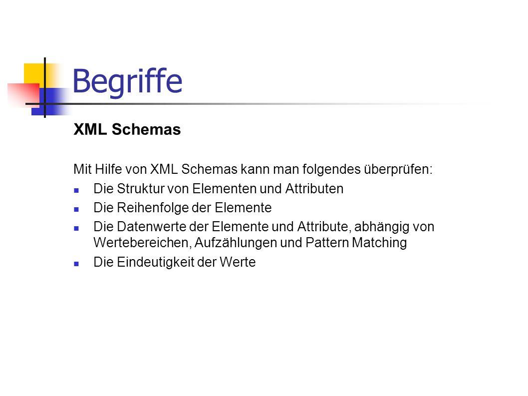 Begriffe XML Schemas. Mit Hilfe von XML Schemas kann man folgendes überprüfen: Die Struktur von Elementen und Attributen.