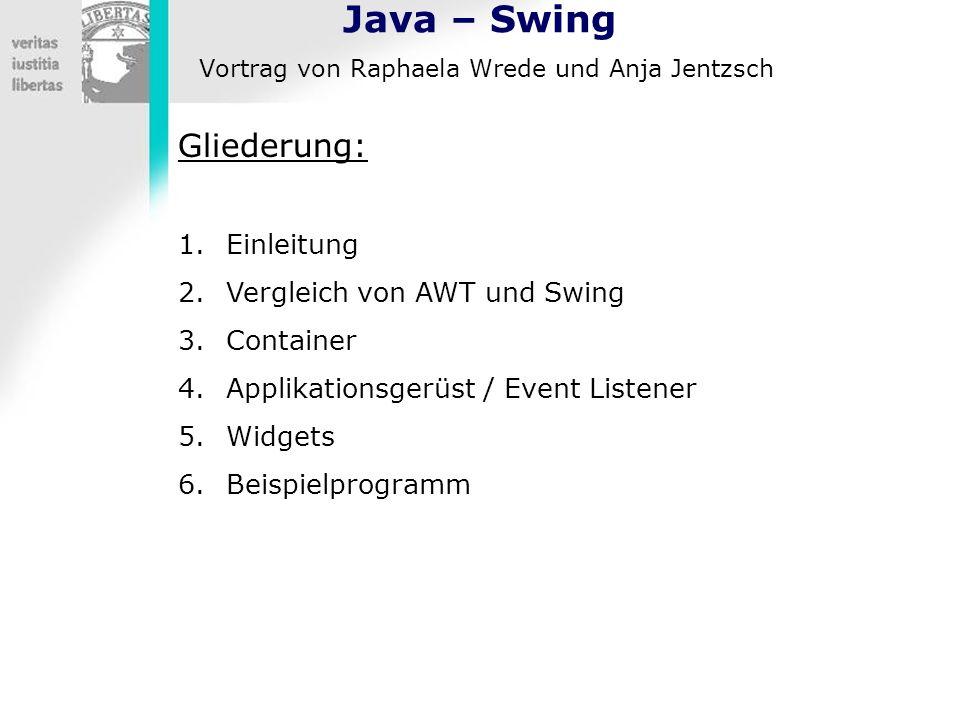 Java – Swing Vortrag von Raphaela Wrede und Anja Jentzsch