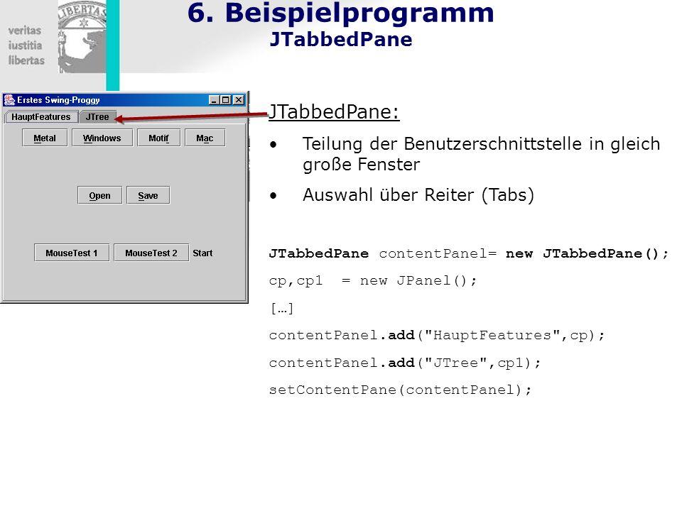 6. Beispielprogramm JTabbedPane