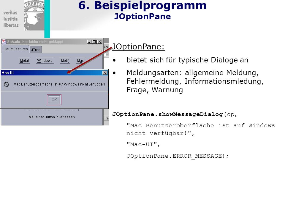 6. Beispielprogramm JOptionPane